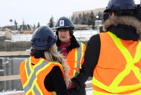 Susan Brown, Senior Vice-President, Alberta and North West Territories Division, BMO Bank of Montreal speaking to media on-site on Dec. 12, 2016.